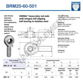 BRM20-60-501-DURBAL - x20 mm