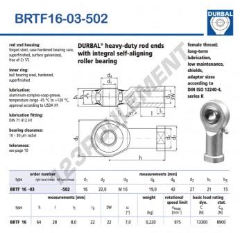BRTF16-03-502-DURBAL - 16x42x21 mm