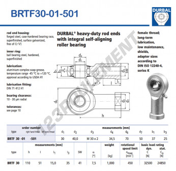 BRTF30-01-501-DURBAL - 30x70x37 mm