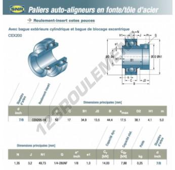 CEX205-14-SNR - 22.23x52x17 mm