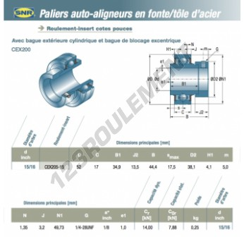 CEX205-15-SNR - 23.81x52x17 mm