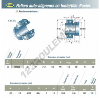 CEX205-SNR - 25x52x17 mm