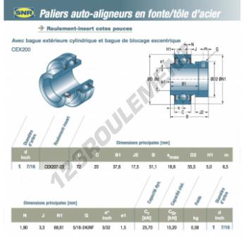 CEX207-23-SNR - 36.51x72x20 mm