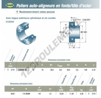 CUS206-19-SNR - 30.16x62x16 mm