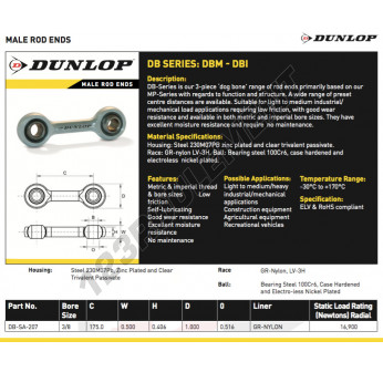 DB-SA-207-DUNLOP - 9.52x175x0.5 mm