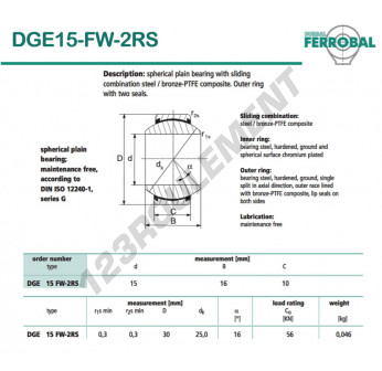GE15-FW-2RS-DURBAL - 15x30x10 mm