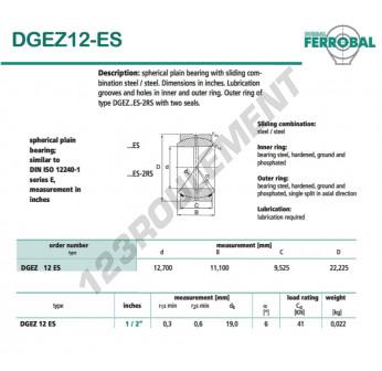 DGEZ12-ES-DURBAL - 12.7x22.23x9.53 mm