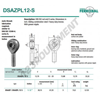 DSAZPL12-S-DURBAL - 12.7x33.32x15.88 mm