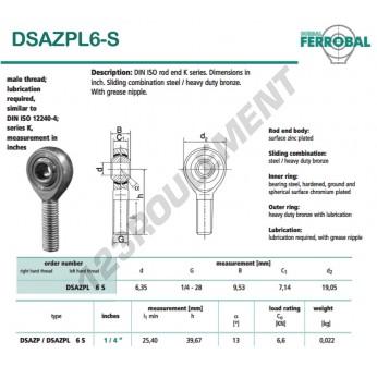 DSAZPL6-S-DURBAL - x6.35 mm