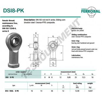 SI8-PK-DURBAL - 8x25x12 mm