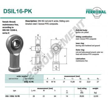 DSIL16-PK-DURBAL - 16x43x21 mm