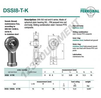 DSSI8-T-K-DURBAL - 8x24x12 mm