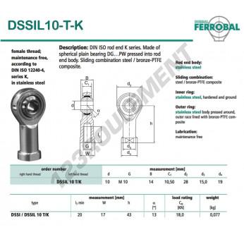 DSSIL10-T-K-DURBAL - 10x28x14 mm