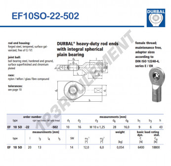 EF10SO-22-502-DURBAL - 10x28x9 mm