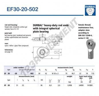 EF30-20-502-DURBAL - 30x70x22 mm