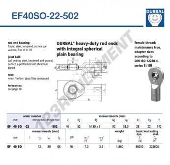EF40SO-22-502-DURBAL - 40x92x28 mm