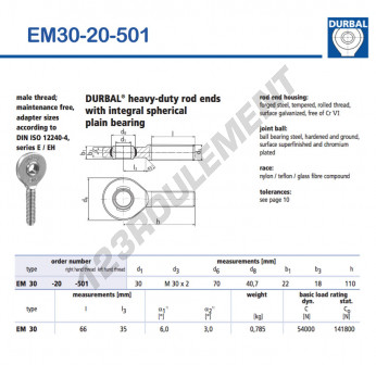 EM30-20-501-DURBAL - x30 mm