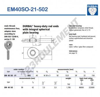 EM40SO-21-502-DURBAL - x40 mm