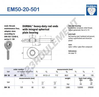 EM50-20-501-DURBAL - x50 mm