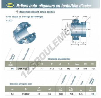 EX205-14-G2-SNR - 22.23x52x17 mm