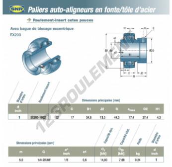 EX205-16-G2-SNR - 25.4x52x17 mm