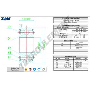 F606-ZZ-ZEN - 6x17x6 mm
