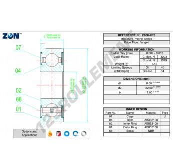F608-2RS-ZEN - 8x22x7 mm