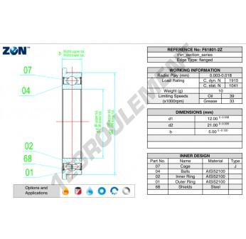 F61801-ZZ-ZEN - 12x21x5 mm