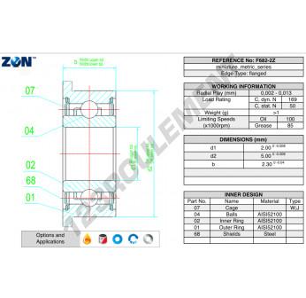 F682-ZZ-ZEN - 2x5x2.3 mm