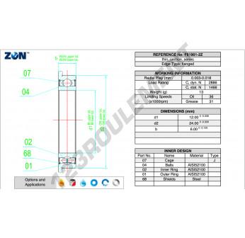 F6901-2Z-ZEN - 12x24x6 mm