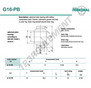 DG16-PB-DURBAL - 16x32x15 mm