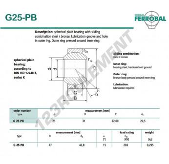 G25-PB-DURBAL - 25x47x22 mm
