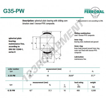 G35-PW-DURBAL - 35x62x0.5 mm