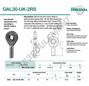 DGAL30-UK-2RS-DURBAL - x30 mm