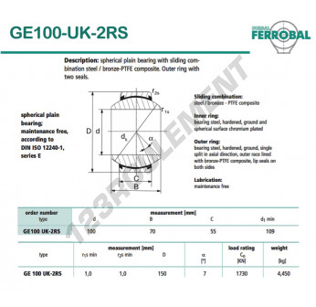 DGE100-UK-2RS-DURBAL - 100x150x55 mm