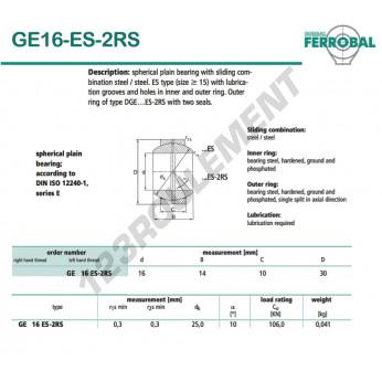 GE16-ES-2RS-DURBAL - 16x30x10 mm