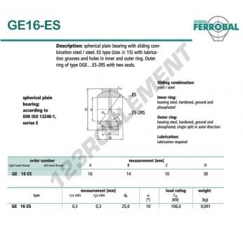GE16-ES-DURBAL - 16x30x10 mm