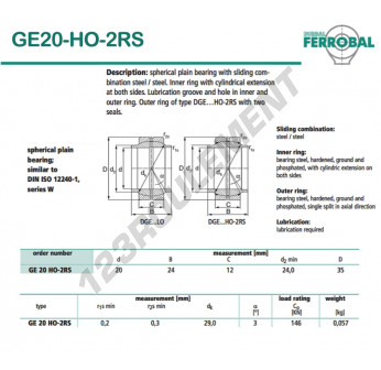 GE20-HO-2RS-DURBAL - 20x35x12 mm