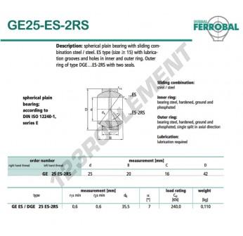 DGE25-ES-2RS-DURBAL - 25x42x16 mm