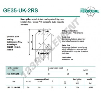 DGE35-UK-2RS-DURBAL - 35x55x20 mm