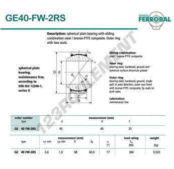 GE40-FW-2RS-DURBAL - 40x68x25 mm