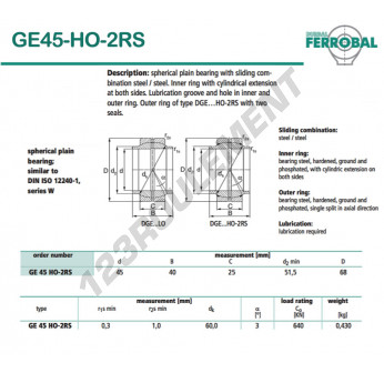 GE45-HO-2RS-DURBAL - 45x68x25 mm