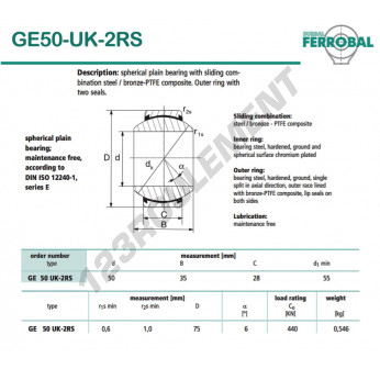 DGE50-UK-2RS-DURBAL - 50x75x28 mm