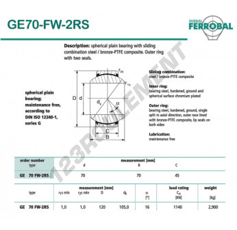 GE70-FW-2RS-DURBAL - 70x120x45 mm
