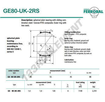 GE80-UK-2RS-DURBAL - 80x120x45 mm