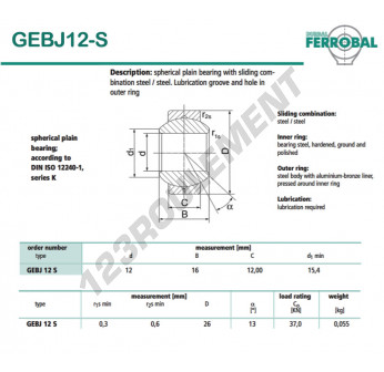 GEBJ12-S-DURBAL - 12x26x12 mm