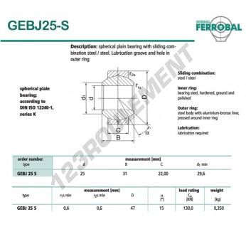 GEBJ25-S-DURBAL - 25x47x22 mm