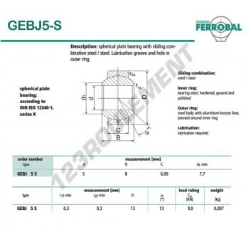 GEBJ5-S-DURBAL - 5x13x6 mm