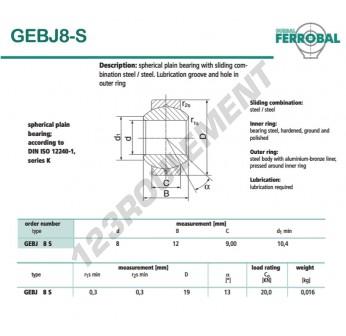 GEBJ8-S-DURBAL - 8x19x9 mm