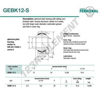 DGEBK12-S-DURBAL - 12x30x12 mm